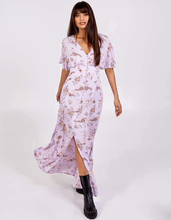 KAYLA - Kimono Sleeve Button Through Maxi Dress