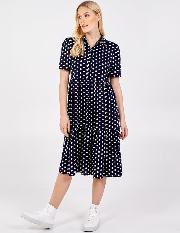 OTTILIE - Button Through Collared Tiered Dress