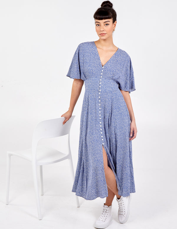 INDIE - Button Front Shirring Back Maxi Dress