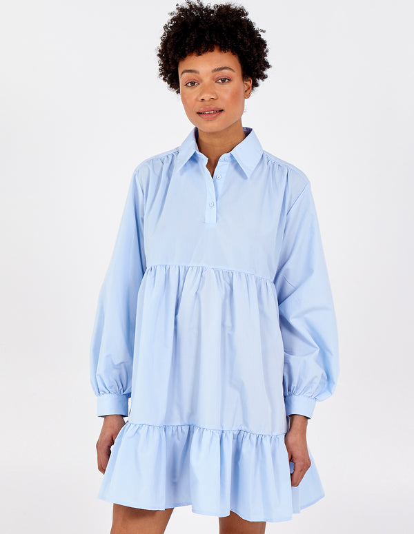 NADIA - Button Front Long Sleeve Smock Dress