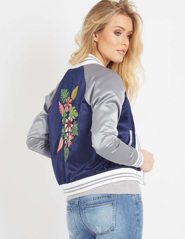 EMILIANA - Embroidered Satin Jacket Navy