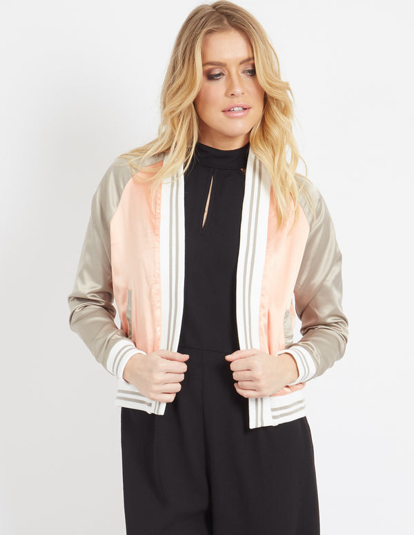 EMILIANA - Embroidered Satin Jacket Pink