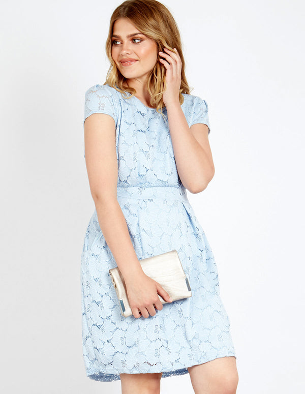 ASHER - Floral Lace Tie Back Dress Blue