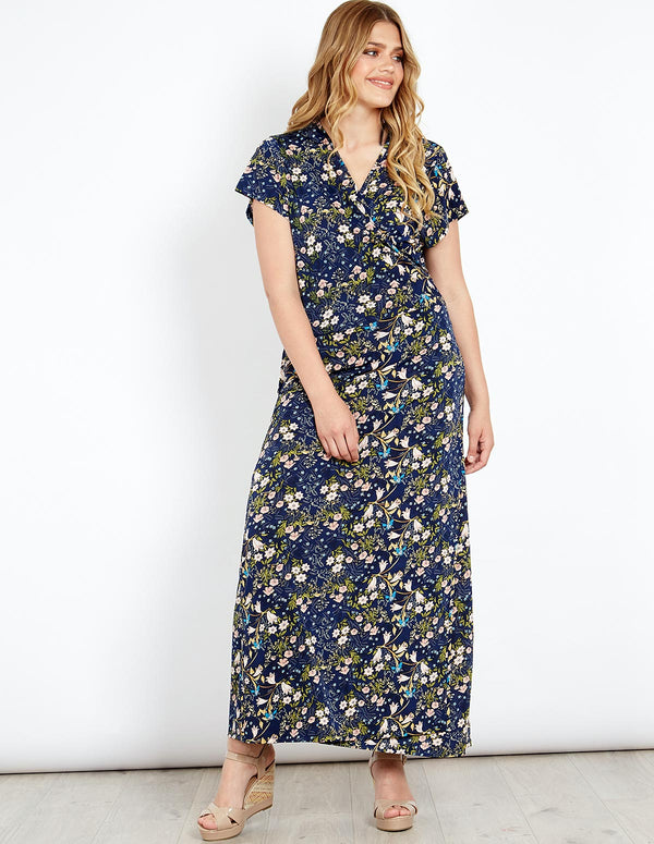 RIVER - Floral Print Wrap Maxi Dress