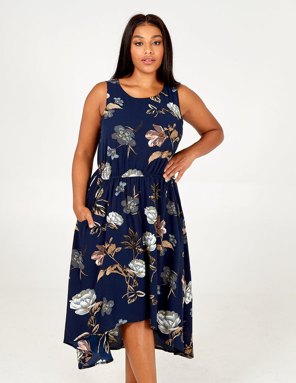 SAFA - Curve Sleeve Dip Hem Printed Dress