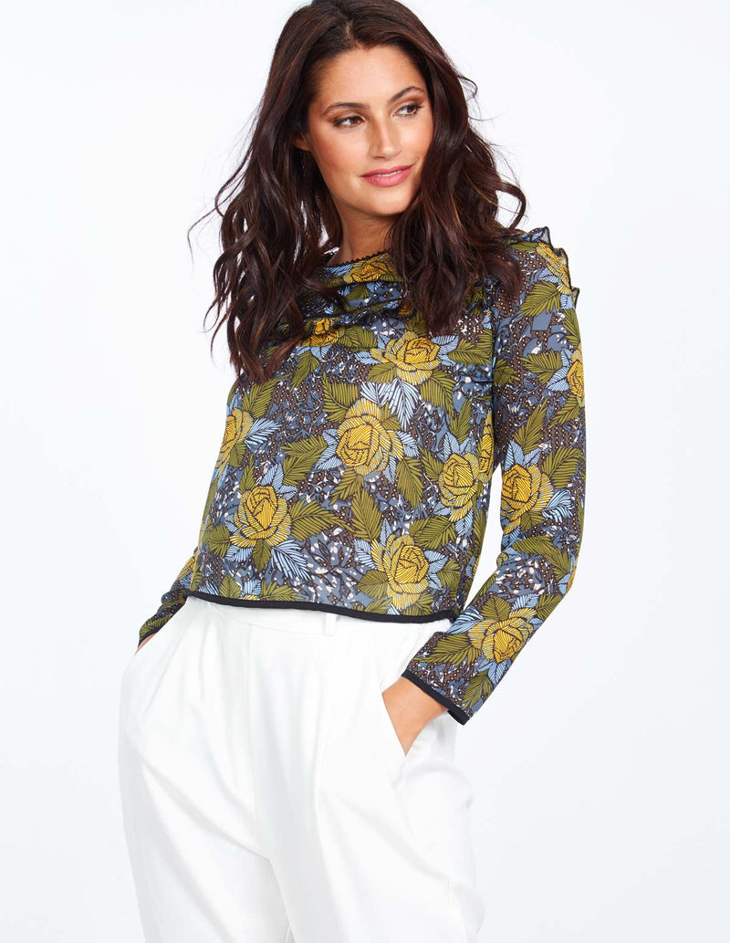 VIVI - Floral Print Chiffon Top With Frill Detail