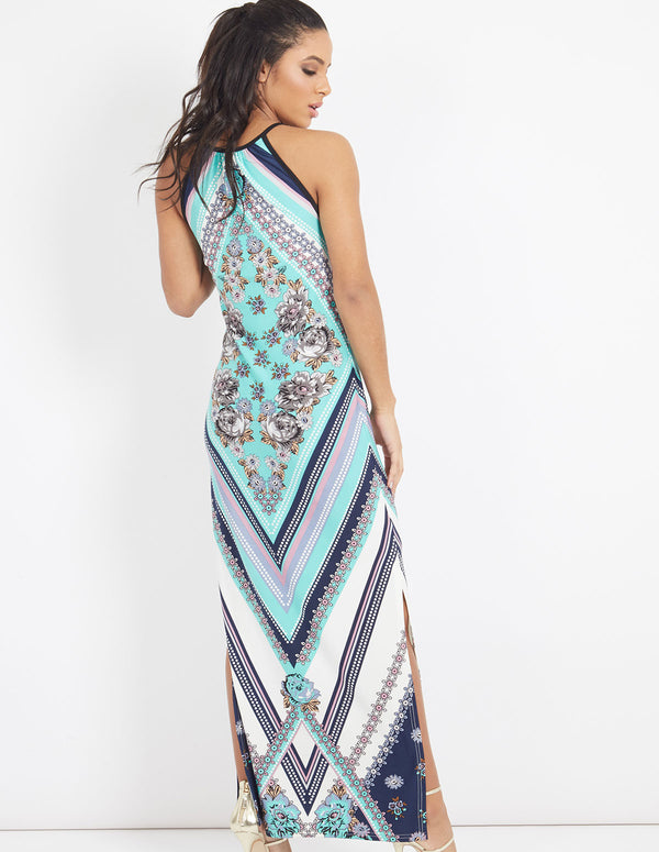 TORY - Diamond Floral Print Keyhole Maxi Dress