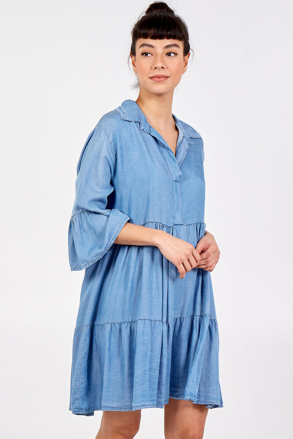 TRINITY - Light Denim Tunic Dress
