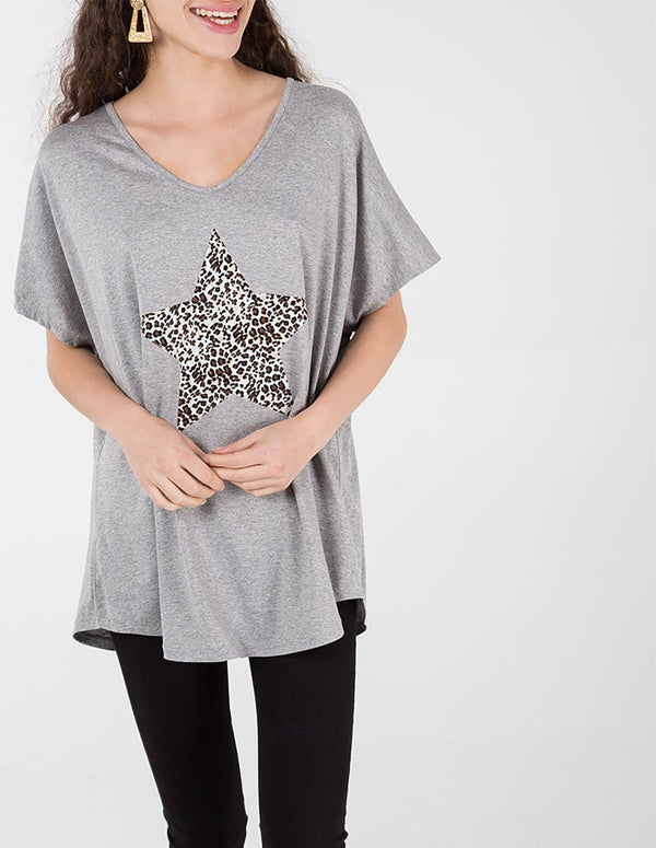LORNA- Leopard Star Grey Oversize Top