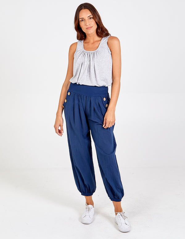 REBECA - Pocket Button Detail Harem Pants