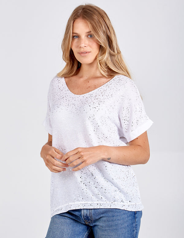 HAWA - Foil Splatter Top