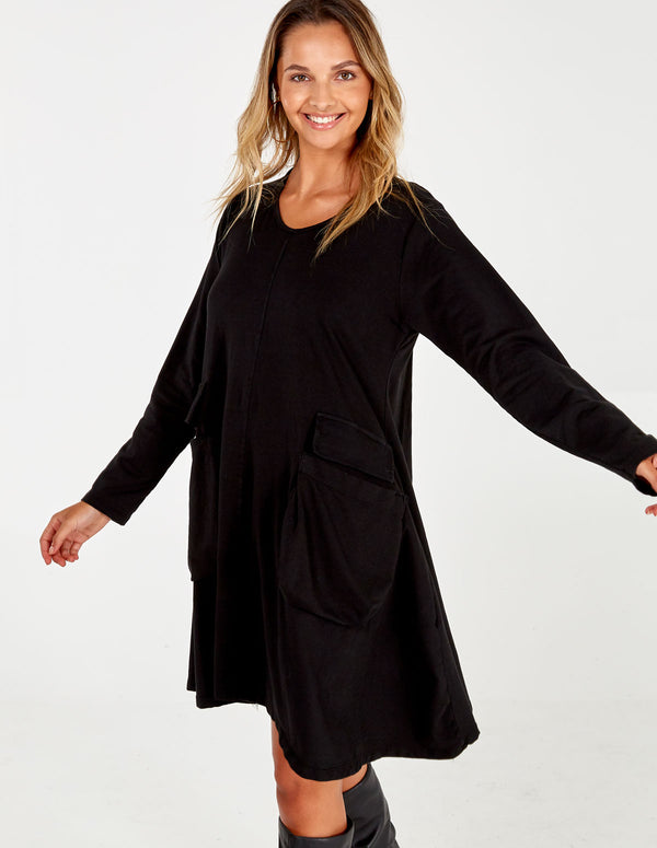 DONIELLE - Black Oversized Dress With Pockets