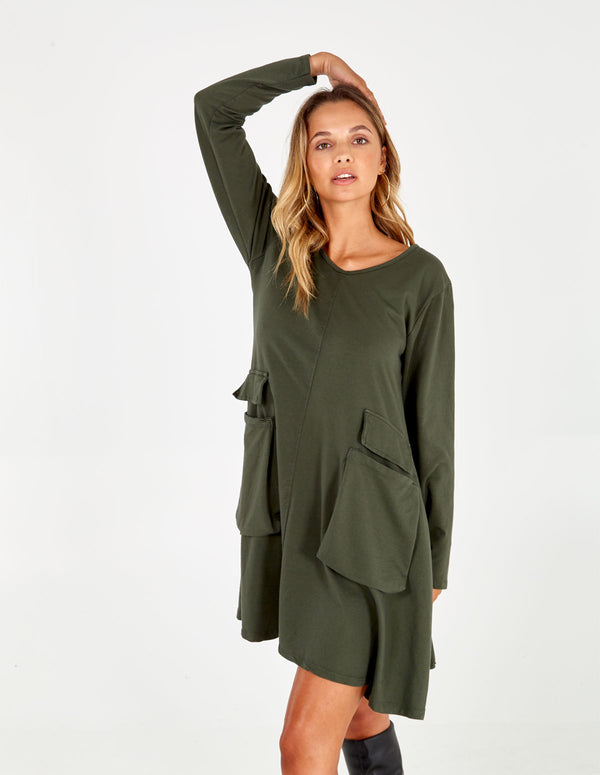 DONIELLE - Green Oversized Dress With Pockets