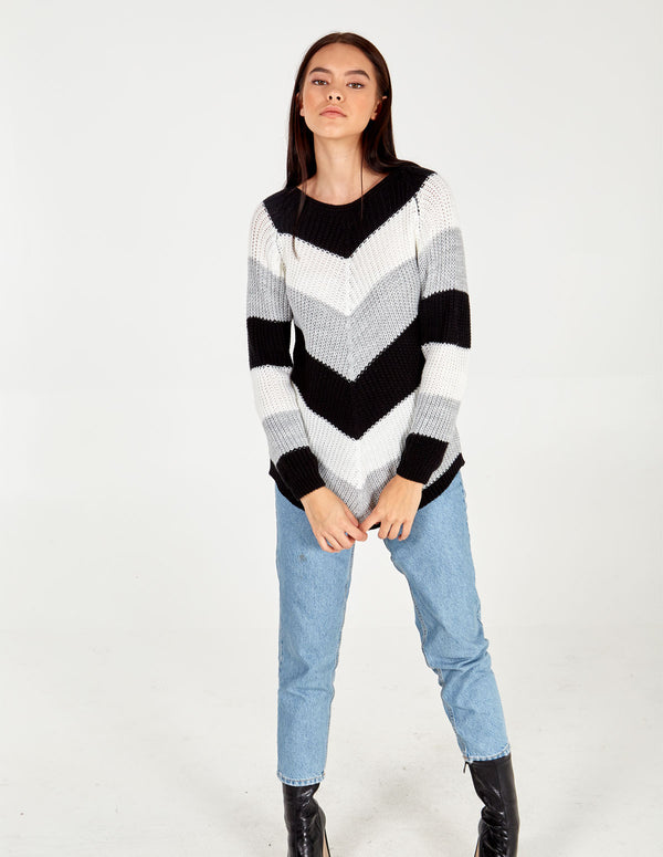 DORIT - Chevron Stripe Curved Hem Grey Jumper