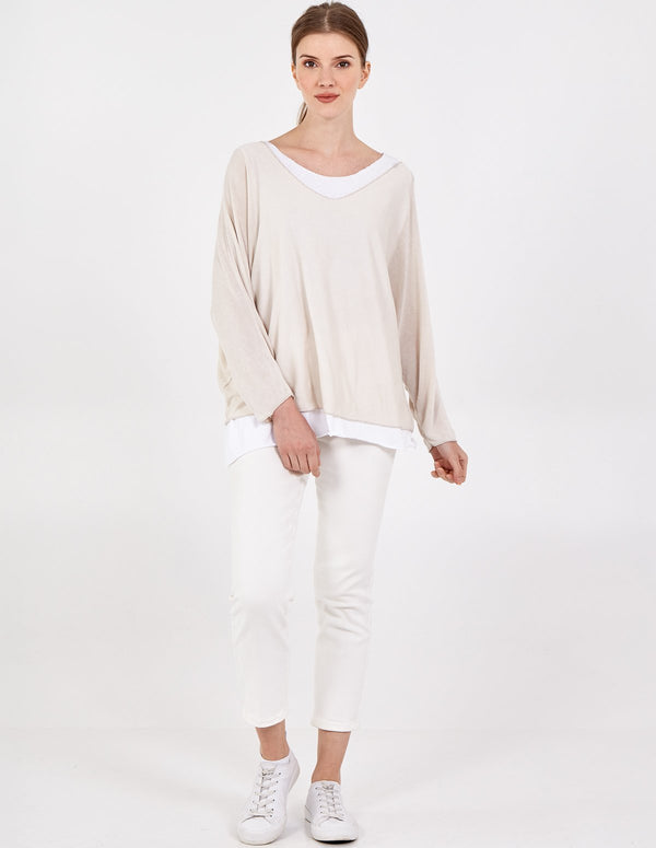 FARRAH - 2 in 1 Batwing Layered Top