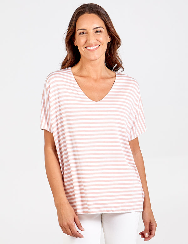 PAIGE - V neck Stripe Oversized Top