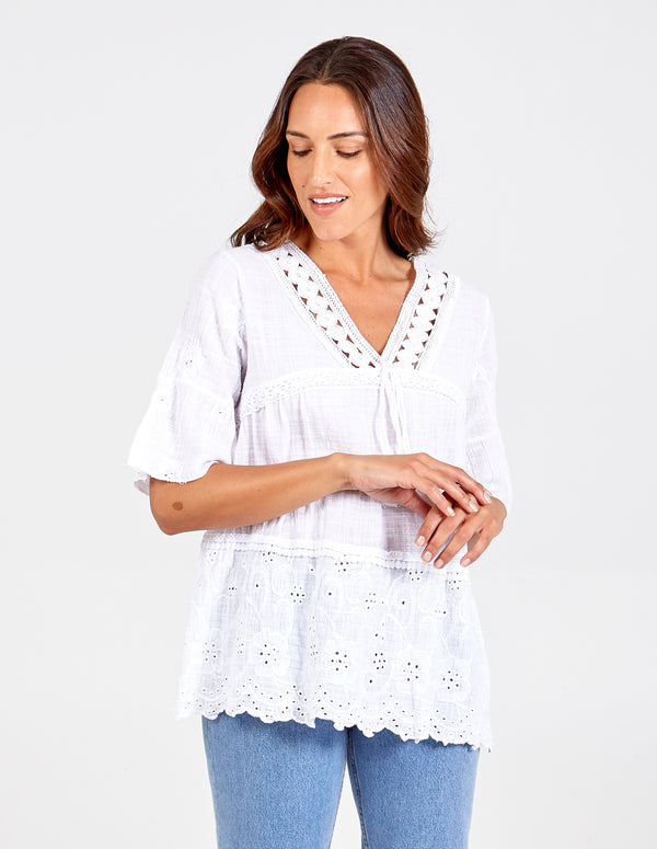 CARLINA - Oversized V Neckline Smock Top