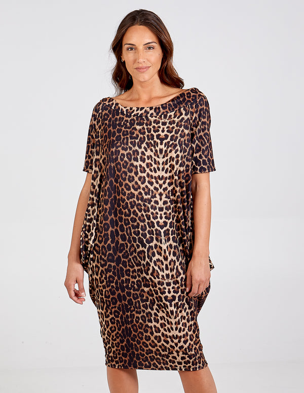 SAARA - Leopard Print Off Shoulder Parachute Dress