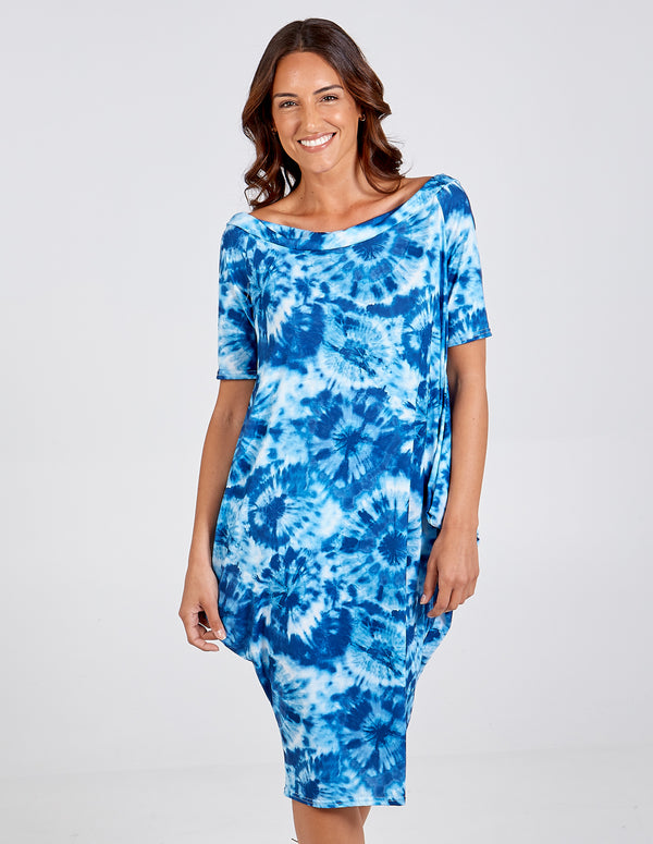 TINA - Tie Dye Off the Shoulder Parachute Dress