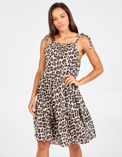 EVANGELISTA - Tie Shoulder Leopard Print Dress