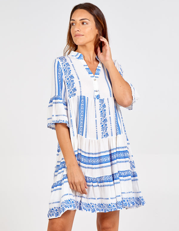 ROSSANA - Aztec Style Tiered Tunic Dress