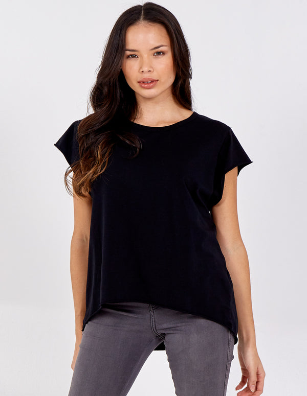 SAFA - Cap Sleeve High Low Rolled Edge Top