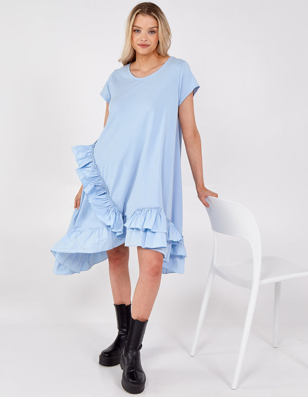 WERONIKA - Asymmetric Ruffle Frill Hem Dress