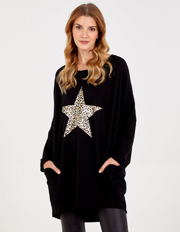 ALESSANDRA - Metallic Star Batwing Top