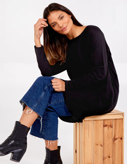 PALOMA - Pocket Crew Neck Oversized Tunic Top