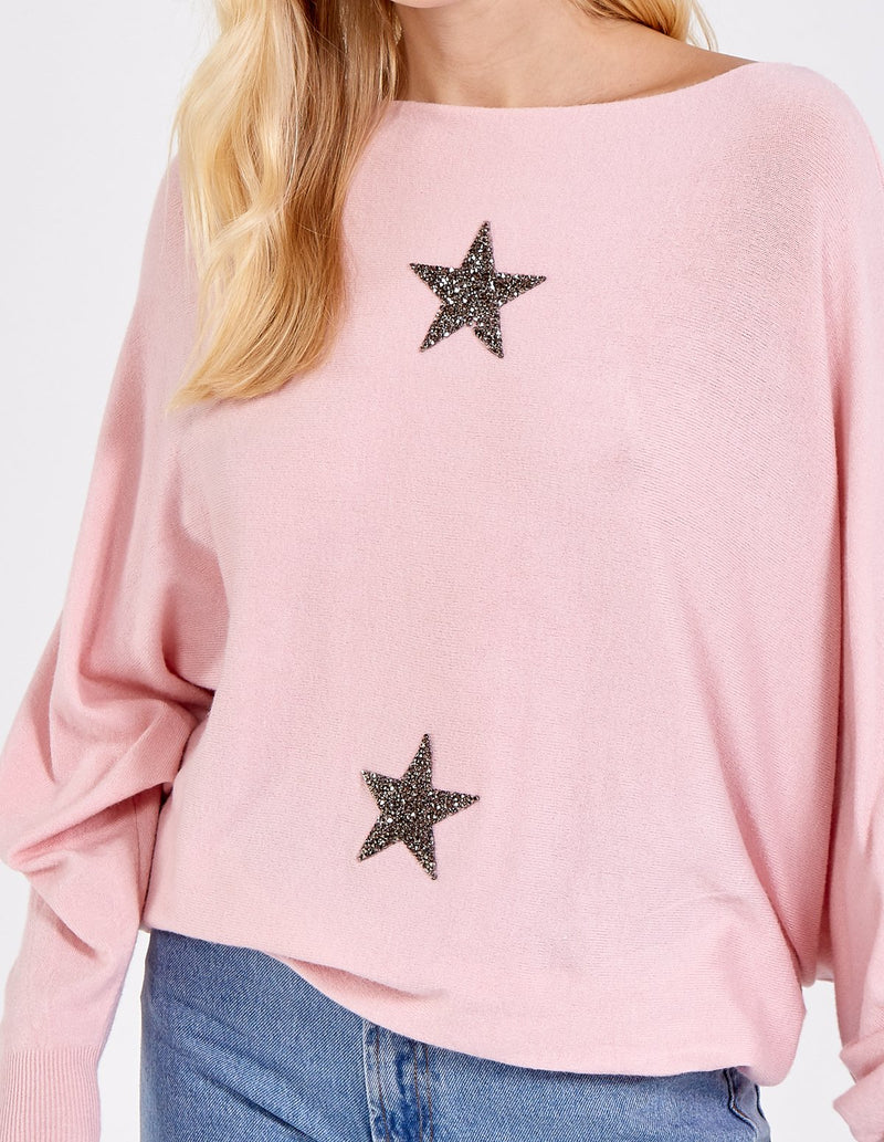 ESHAAL - Sparkle Star Batwing Jumper