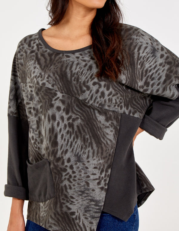 AARYA - Leopard Print Asymmetric Hem Patch Pocket Top