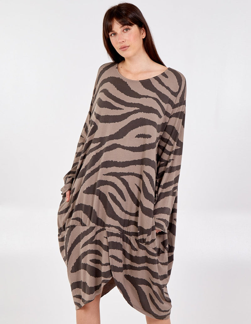 LINA - Long Sleeve Zebra Print Two Pocket Dress