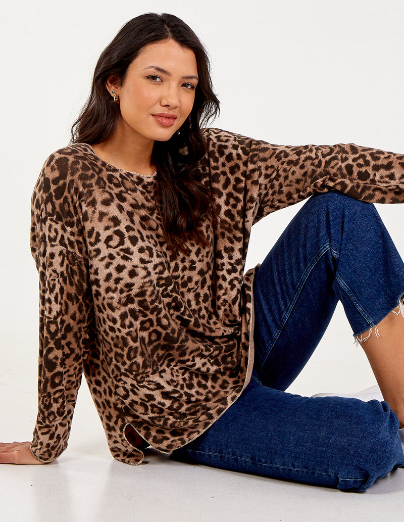 MAEVE - Leopard Knitted Top