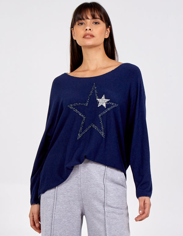 AMALIE - Oversized Sequin Stars Top