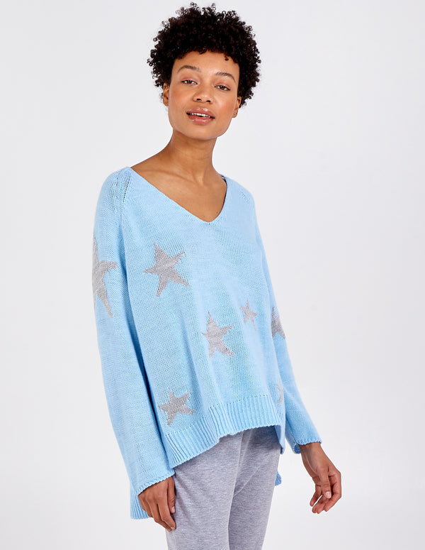 JANNAH - V Neck Knit Star Jumper