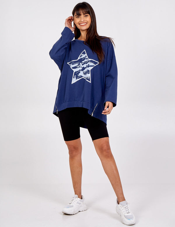 REMI - Oversized Star Print Zip Side Sweatshirt