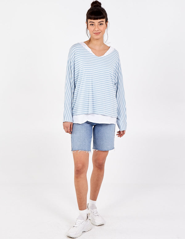 VIKTORIA - 2in1 Stripes Oversized Top