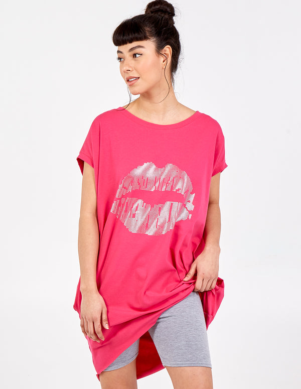 KAYLEIGH - Metallic Lip Print Top