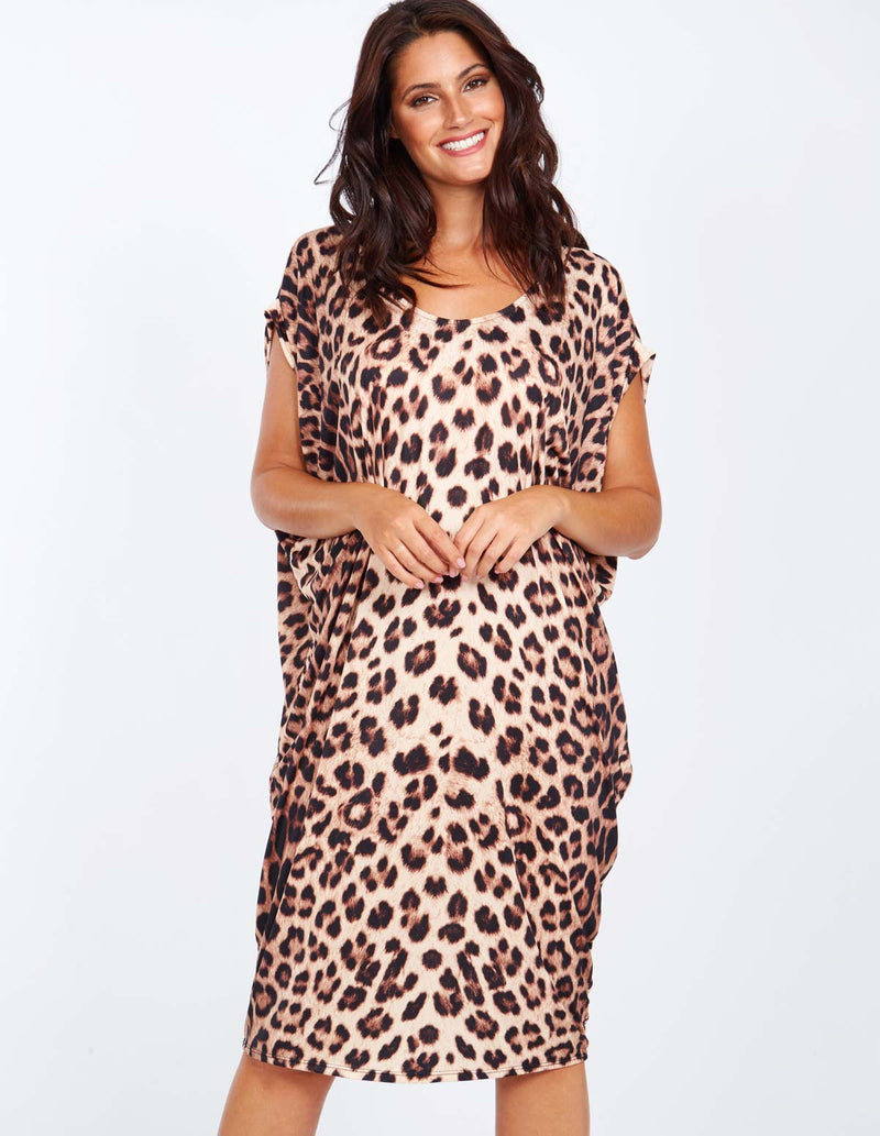 BIRDIE - Animal Print Batwing Oversized Dress