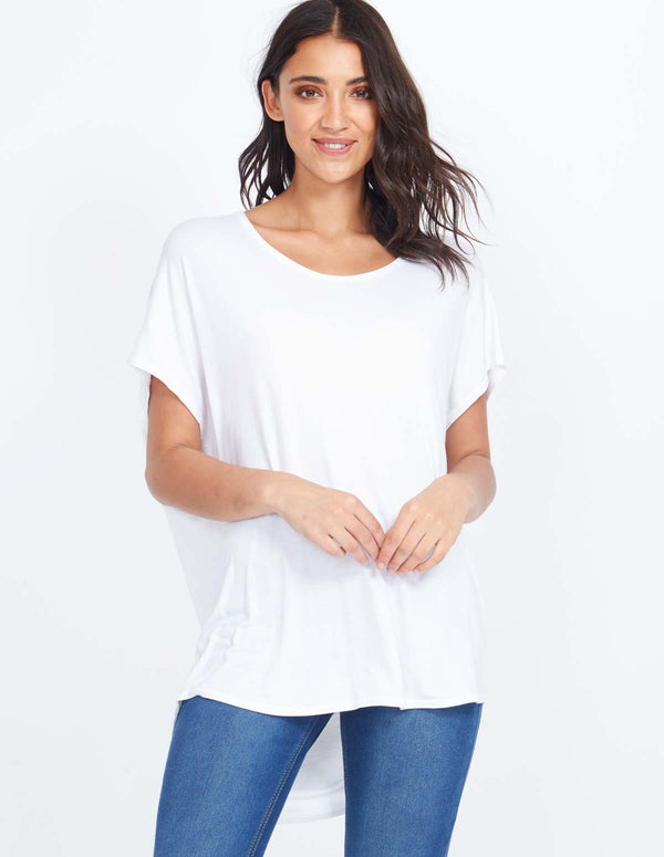 ELLICE - Round Neck Oversized White Top