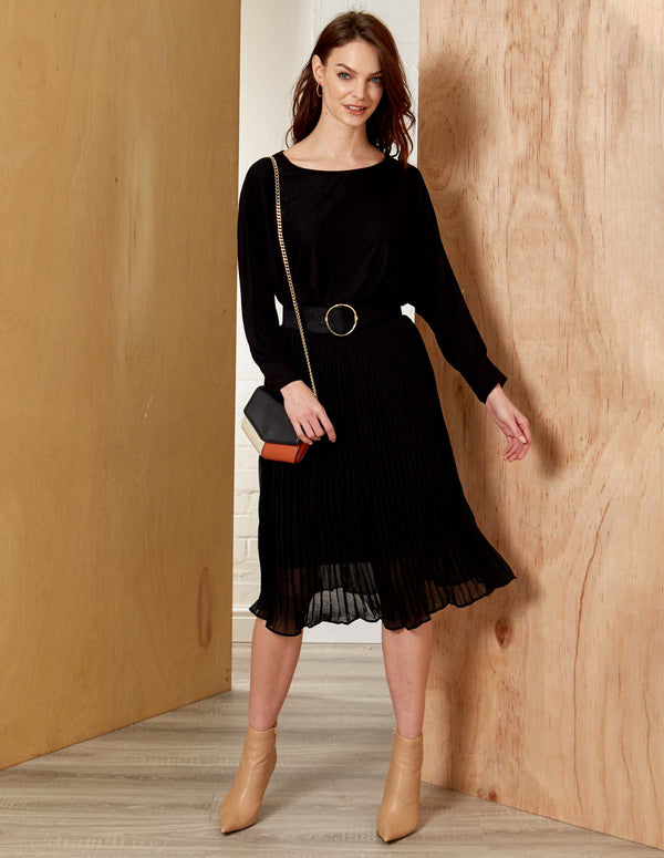 ZOE - Structured Pleated Black Midi Skirt