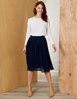 ZOE - Structured Pleated Navy Midi Skirt