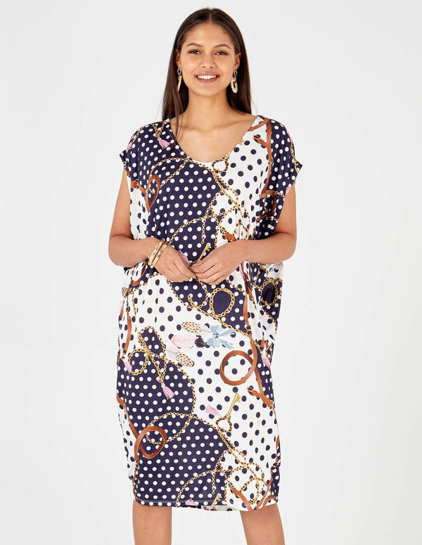 BIRDIE - Polka Dot Chain Print Batwing Navy Oversized Dress