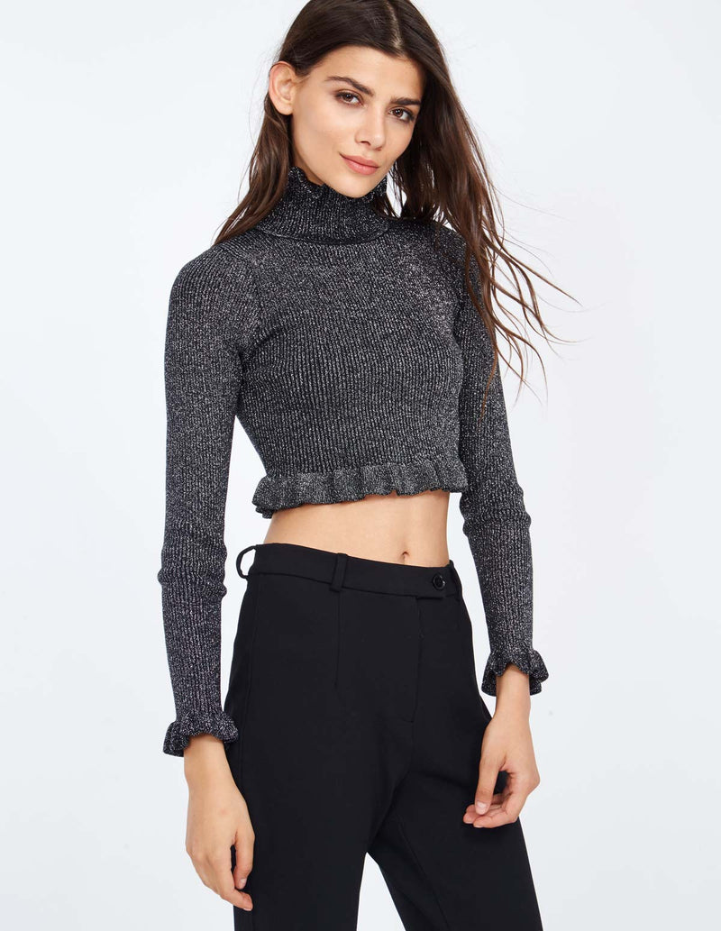 PHILIPPA - High Neck Skinny Rib Cropped Silver Top