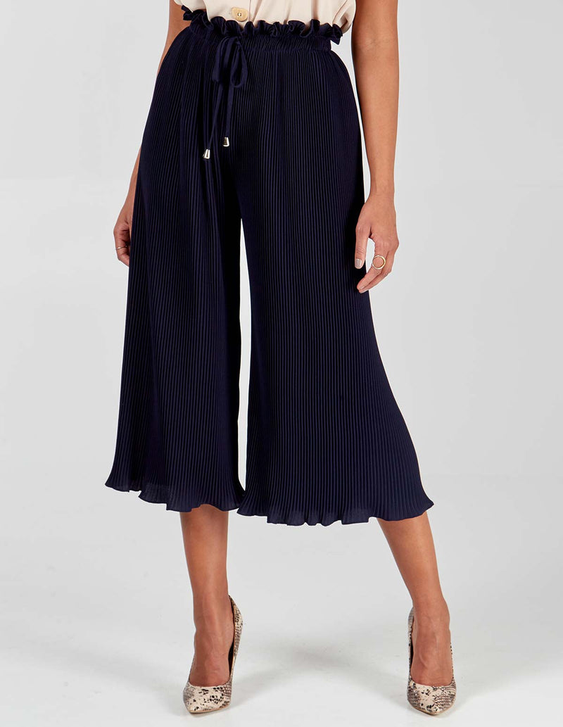 MEGAN - Pleated Navy Culottes