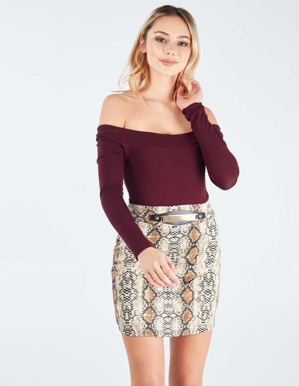 SILVIA - Bodycon Snake Skin Print Mini Skirt