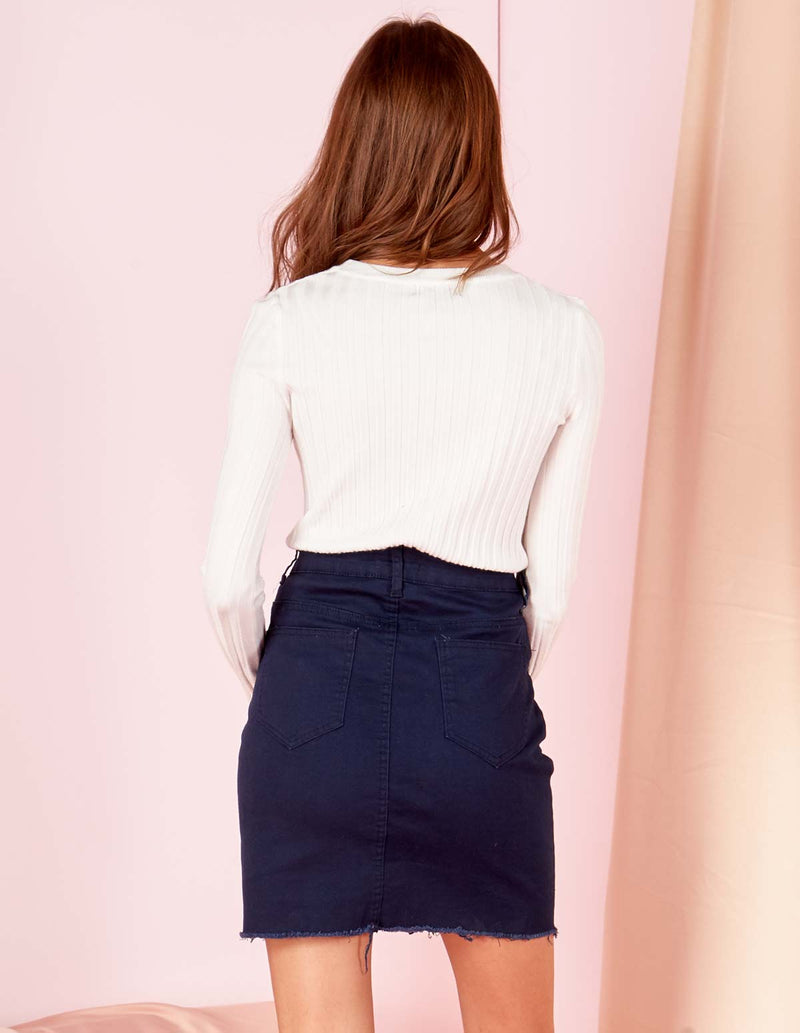 TINA - Button Through Double Pocket Navy Skirt