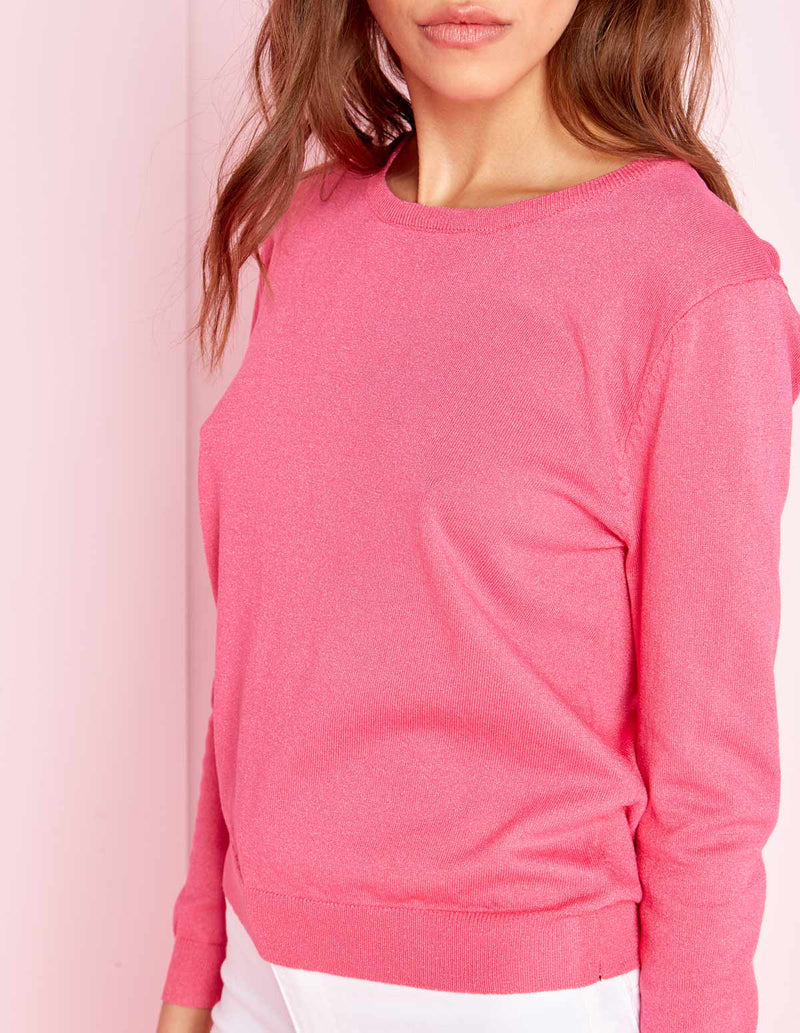 LAUREN - Basic Crew Neck Fine Knit Pink Jumper