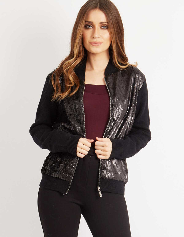 JEMIMA - Sequin Zip Cardigan Black