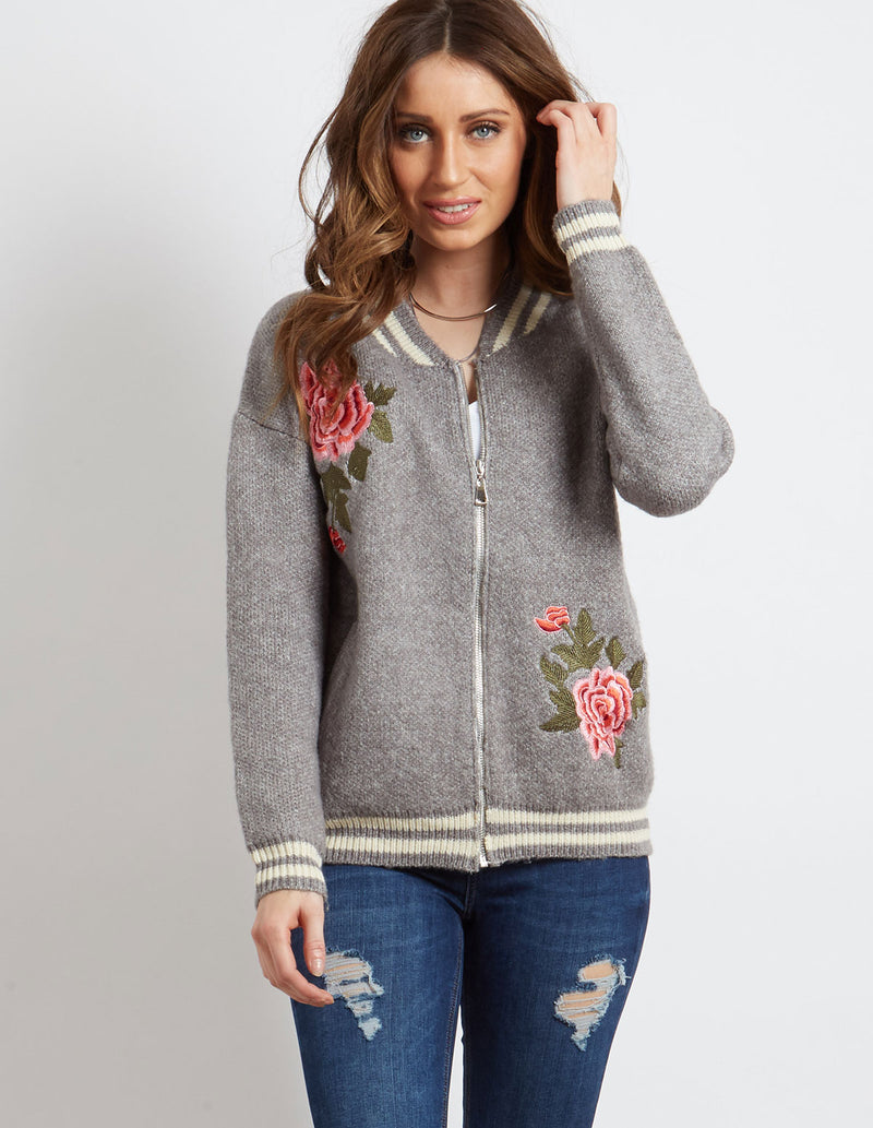 BRONWEN - Rose Embroidery Bomber Grey
